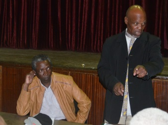 TRADITIONAL MATTERS: Senior leaders of Isizwe Sabathembu in the Chris Hani District held a meeting at the Komani Town Hall last week for the formation of the new Zonke Izizwe structure with, from left, secretary Thozamile Sokupe and chairman Simon Bhokwe Picture: BHONGO JACOB