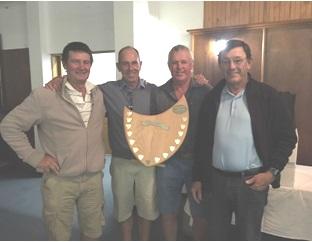 Winners of the Meyers Motors floating trophy, from left, Vaughn Bursey, Ronnie Eb, MF van der Vyver and Dennis Jones