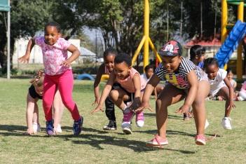 Having fun at Balmoral's 55th birthday, from left, Chloe Petzer, Enam Mvuza, Okuhle Ntungo, Sesethu Ranelo and Onakho Zantsi