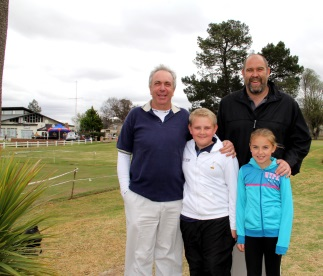 Having fun at a recent event on the greens in Komani were, from left, Stefan Cloete and son, Gerhard, and Basil Buss and his daughter, Chloe