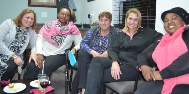 Enjoying the opening of the staff room at Queen's Junior, from left, Leanne Gregoriou, Funeka Malandlu, Adele Dowling, Annelize Nagel and Noluthando Ganca  Picture: SONJA RAASCH