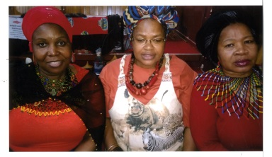 Having fun celebrating their heritage at the Nonzwakazi Women's Manyano were, from left, Rebecca Leferrere, Zine May and Nomvuyo Njovane