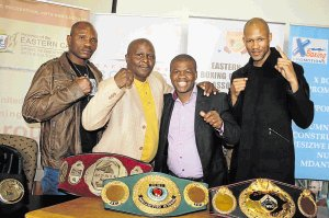 READY FOR VICTORY: Komani boxing fans will be treated to top class boxing on Sunday when the town hosts international and national boxing bouts at the Thobi Kula Indoor Sports Centre. Key figures involved include, from left, Balimo Weliya, former Komani boxer Solomon Manzi, trainer Dudu Bungu and WBO welterweight champion Ali Funeka. The tournament promises to be a knockout Picture: BHONGO JACOB